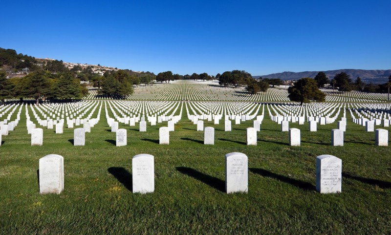 View of the tombstones at Golden Gate National Cemetery