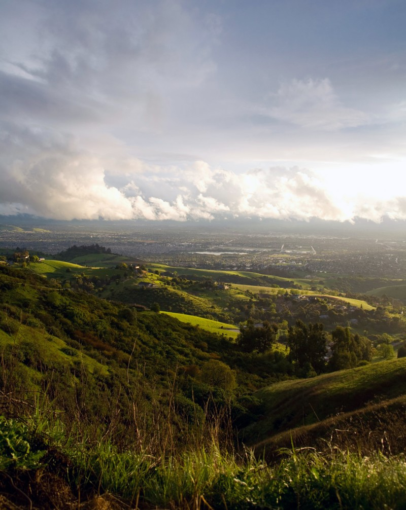 View of Silicon Valley from the hills after a passing storm