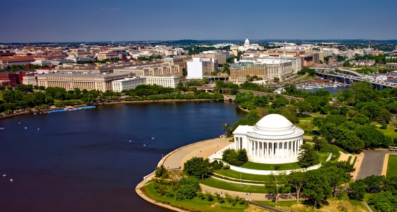 Aerial view of the Jefferson Memorial with downtown Washington DC in the background
